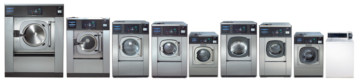 line up of Continental Girbau washer extractors for self service laundries