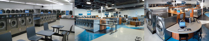 interior of modern, clean and energy efficient laundromat